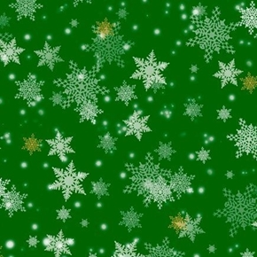 Gifts From Santa Snowflakes Christmas Holiday Snow Green Cotton Fabric