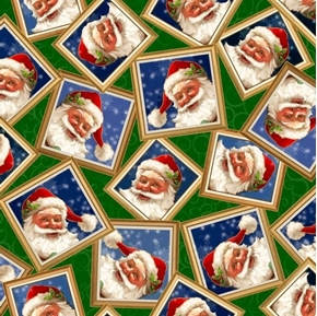 Gifts From Santa Santa Claus in Frames Christmas Holiday Cotton Fabric