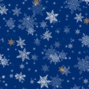 Gifts From Santa Snowflakes Christmas Holiday Snow Blue Cotton Fabric