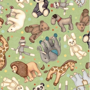 Toyland Animal Toss Monkey Lion Panda Bear Zebra Green Cotton Fabric