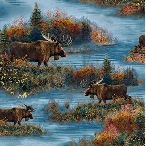 Moose Country Moose Scenic In the Wild Blue Cotton Fabric