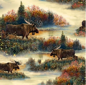 Moose Country Moose Scenic In the Wild Cream Cotton Fabric