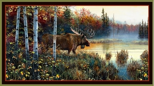 Moose Country Moose by the Lake 24x44 Cotton Fabric Panel