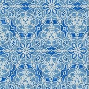 Luminous Holiday Lace Medallion Metallic White on Blue Cotton Fabric
