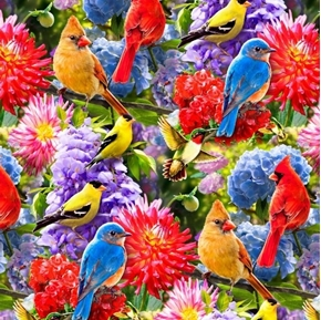 Birds and Flowers Songbirds Hummingbirds Floral Digital Cotton Fabric