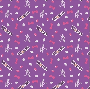 Willy Wonka and the Chocolate Factory Jelly Beans Purple Cotton Fabric