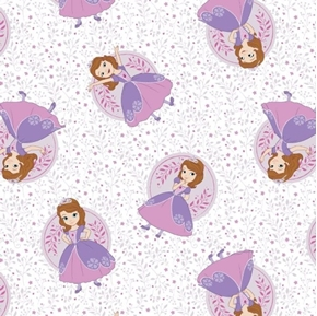 Disney Sofia the First Poses Flowers and Leaves White Cotton Fabric