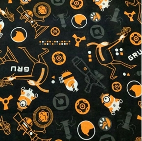Despicable Me 3 Minion and Gru Toss Black Cotton Fabric