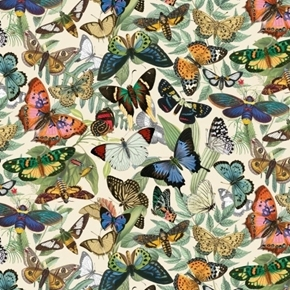 Secret Escape Beautiful Butterflies Moths Insects Cream Cotton Fabric