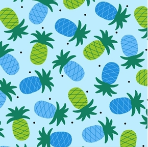 Gone Wild Pineapples Green and Blue Tossed Pineapple Cotton Fabric