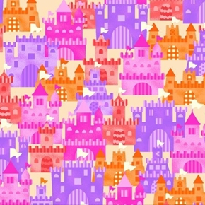 Mermaids Rock Sand Castles Pink Purple Orange Castle Cotton Fabric