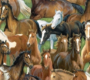 Wild Wings Sweetwater Bridge Horse Packed Horses Green Cotton Fabric