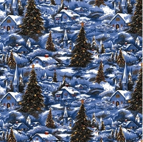 Winter White Christmas Holiday Village Churches Glitter Cotton Fabric