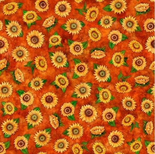 Always Face Sunshine Small Tossed Sunflowers on Rust Cotton Fabric