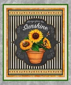 Always Face The Sunshine Sunflower Large Cotton Fabric Panel