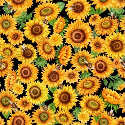 Always Face The Sunshine Packed Sunflowers Bees on Black Cotton Fabric