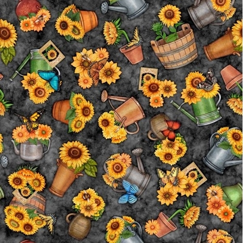 Always Face The Sunshine Potted Sunflowers Watering Cans Cotton Fabric