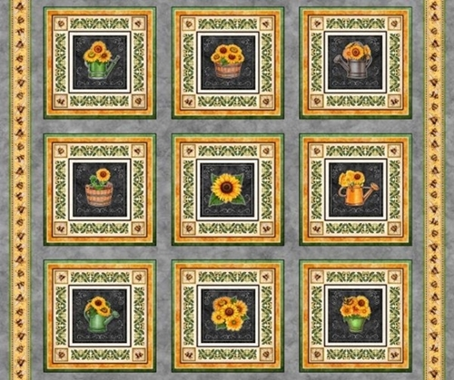 Always Face The Sunshine Sunflower Picture Patches Cotton Fabric Panel