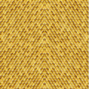 Always The Face Sunshine Honeycomb Honey Bee Yellow Cotton Fabric