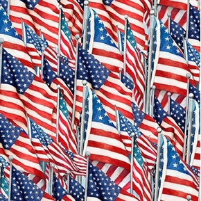 American Flag Toss Patriotic Waving Flags Susan Winget Cotton Fabric