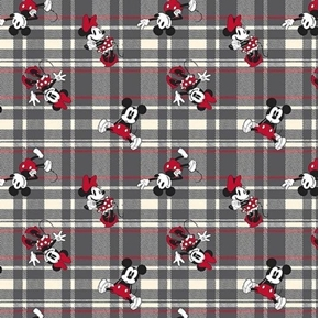 Disney Classic Mickey and Minnie Grey and Red Plaid Cotton Fabric