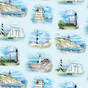 Beacons of Light Lighthouse Vignettes and Sailboats Blue Cotton Fabric