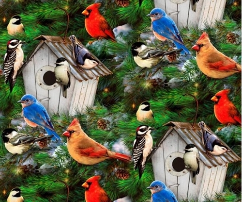 Bird Houses and Pines Songbirds in Winter Cardinals Cotton Fabric
