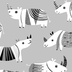 Dyno Rhino Contemporary Design Rhinoceros Gray Cotton Fabric