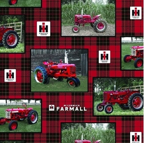 Farmall Box Vintage Tractor Photos on Red Plaid Cotton Fabric