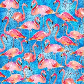 Flamingos Packed Pink Flamingo Birds on Blue Cotton Fabric