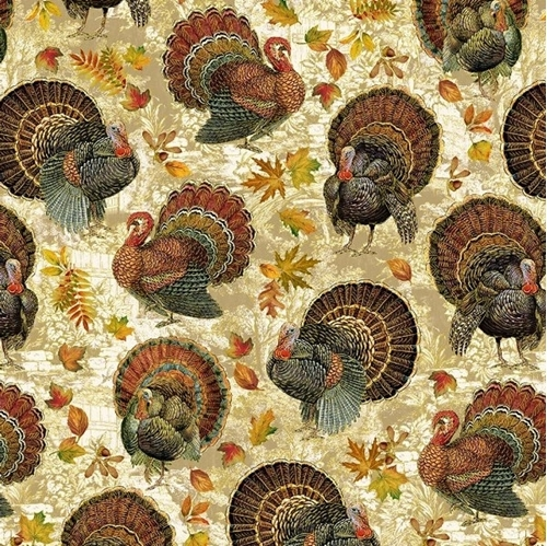 Harvest Turkeys Thanksgiving Turkey Birds Gold Metallic Cotton Fabric