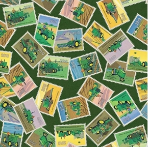 John Deere Stamps Vintage Tractor Postage Stamps Farm Cotton Fabric