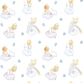 Precious Moments Angel Scenic Clouds and Rainbows Cotton Fabric