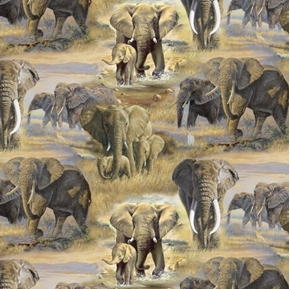 Roaming Savannas Elephant Families in the Wild Cotton Fabric