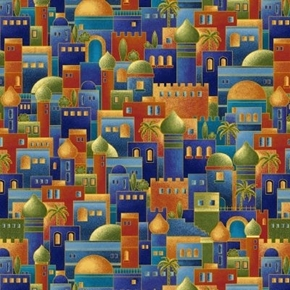 Silent Night Bethlehem Town Ancient City Metallic Color Cotton Fabric