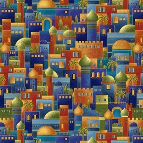 Silent Night Bethlehem Town Ancient City Metallic Color Cotton Fabric