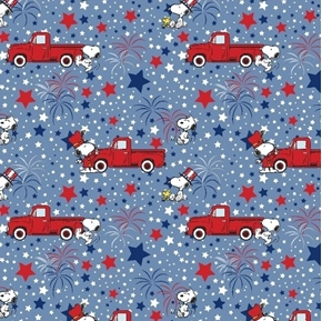 Snoopy Patriotic Peanuts Red Truck Stars and Fireworks Cotton Fabric