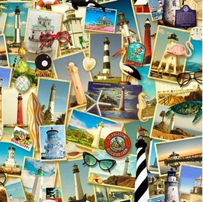 Southern Lighthouse Picture Patch Beach Vacation Travel Cotton Fabric