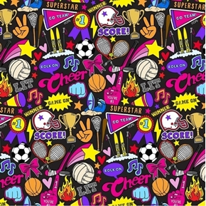 Sports By Corey Paige Girls Sports Icons and Words Black Cotton Fabric