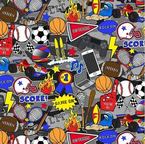 Sports by Corey Paige Team Player Icon and Words Camo Cotton Fabric