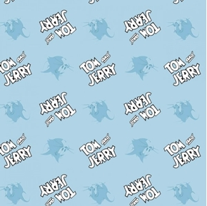 Tom and Jerry Cute and Cranky Logo Editorial Blue Cotton Fabric