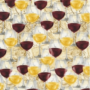 Wine Glasses Red and White Wine Glass Italy Map Cotton Fabric