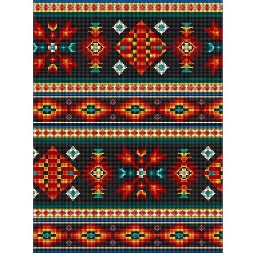 Tucson Southwest Aztec Native American Beaded Design Black Cotton Fabric