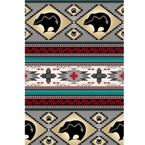 Tucson Southwest Aztec Native American Bear Stripe Gray Cotton Fabric