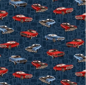 American Muscle Tossed Muscle Cars Red and Blue Car Cotton Fabric