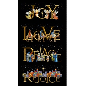 Silent Night Joy Peace Christmas Nativity 24x44 Cotton Fabric Panel
