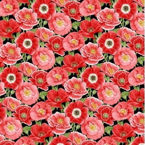 Poppy Meadows Large Pink and Red Poppies Flowers Cotton Fabric