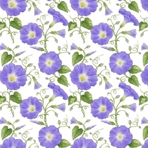 Hydrangea Birdsong Purple Morning Glory Flower Vines Cotton Fabric
