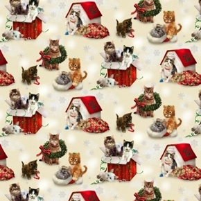 Fireside Kittens Christmas Holiday Playful Kitten Cotton Fabric