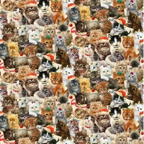 Fireside Kittens Packed Kittens Allover Christmas Holiday Cotton Fabric